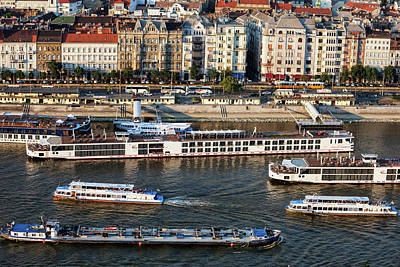 Budapest Sightseeing Tours Photograph - Cruise Boats On Danube River In Budapest by Artur Bogacki