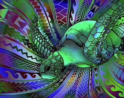 Hawaii Sea Turtle Mixed Media - Cruise Control by Tawsh Lav