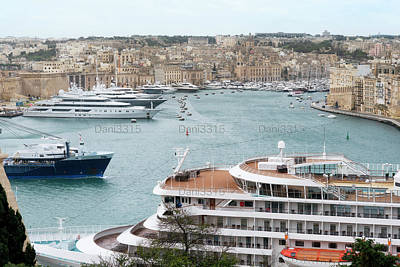 Dock Photograph - Cruise Ship And Yachts Docked At The Port Of Malta by Dani Prints and Images