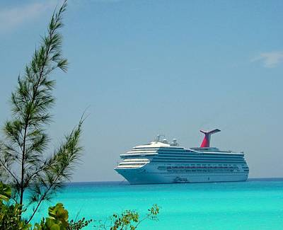 Cruise Ship At Half Moon Cay Art Print by Gary Wonning
