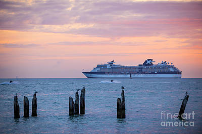 Cruise Ship At Key West Art Print by Elena Elisseeva