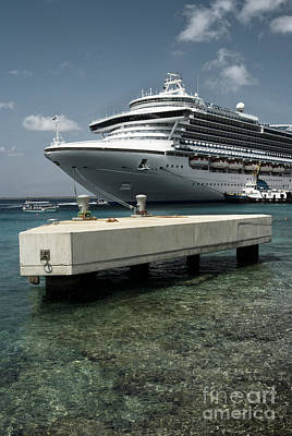 Getaway Photograph - Cruise Ship Docked In Bonaire, Caribbean Islands by Dani Prints and Images