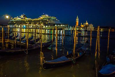 Photograph - Cruise Ship Entering Venice At Sunrise by Lev Kaytsner