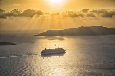 Cruise Ship In Greece Art Print