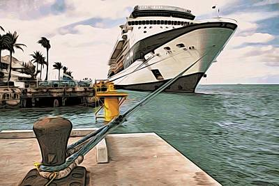 Photograph - Cruise Ship In Key West by Alice Gipson