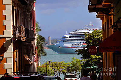 Photograph - Cruise Ship Passes By Old San Juan by Steven Spak
