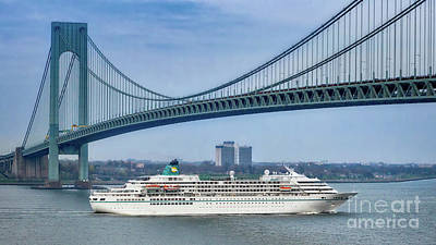 Photograph - Cruise Ship Passing The Verrazano by Jerry Fornarotto