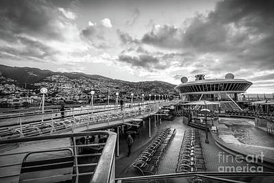 Cruising The Coast Wall Art - Photograph - Cruise Ship Sunrise Arrival In Funchal, Portugal, Blk Wht by Liesl Walsh