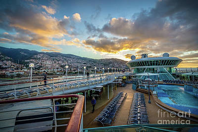 Cruising The Coast Wall Art - Photograph - Cruise Ship Sunrise Arrival In Funchal, Portugal by Liesl Walsh