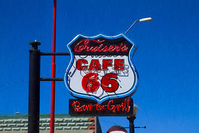 Photograph - Cruisers Cafe 66 Sign by Bonnie Follett