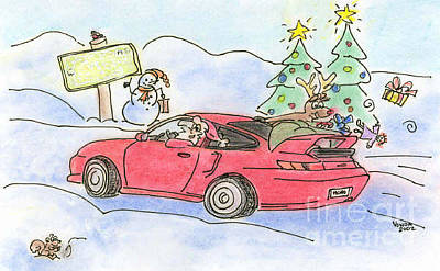 Drawing - Cruisin' Santa by Vonda Lawson-Rosa