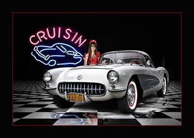 Drive-in Digital Art - Cruisin' The Diner .... by Rat Rod Studios