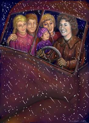 Drawing - Cruisin' With The Big Kids by Dawn Senior-Trask