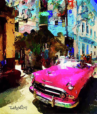 Digital Art - Cruising In Havana by Ted Azriel