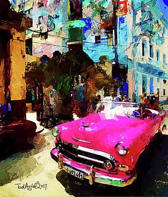 Digital Art - Cruising In Havana by Ted Azriel