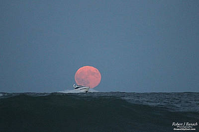 Cruising On A Wave During Harvest Moon Art Print