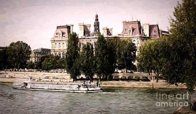 Digital Art - Cruising Seine River France Paris Paint  by Chuck Kuhn