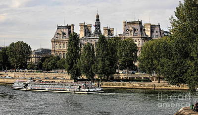 Photograph - Cruising Seine River Tourist Paris  by Chuck Kuhn