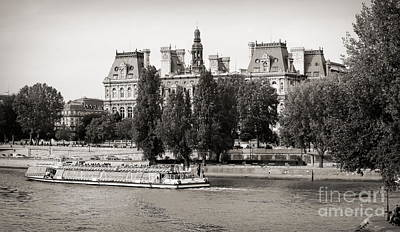 Photograph - Cruising Seine River Tourists Sepia  by Chuck Kuhn