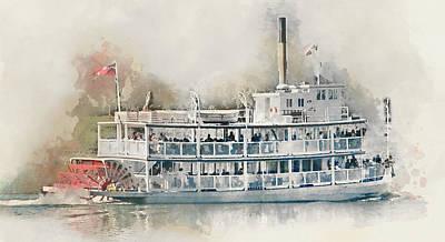 Glenmore Reservoir Painting - Cruising The Lake In A Paddle Wheeler - Digital Watercolor by Rayanda Arts