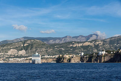 Photograph - Cruising The Med - Cruise Ship Imposing Cliff And Calm Blue Mediterranean Water At Sorrento Italy by Georgia Mizuleva