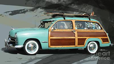 Historic Car Digital Art - Cruising Woody by Uli Gonzalez
