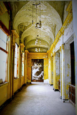 Crumbling Cathedral Corridor Art Print by Keith Rousseau