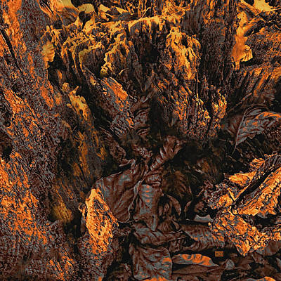 Photograph - Crumbling Tree Stump Abstract Detail In Copper Tones by Menega Sabidussi