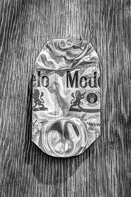 Photograph - Crushed Beer Can Especial On Plywood 82 In Bw by YoPedro