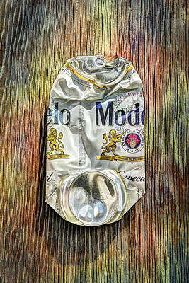 Photograph - Crushed Beer Can Especial On Plywood 82 by YoPedro