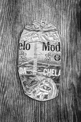 Photograph - Crushed Beer Can Red Chelada On Plywood 83 In Bw by YoPedro