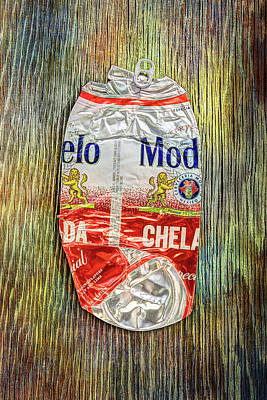 Photograph - Crushed Beer Can Red Chelada On Plywood 83 by YoPedro