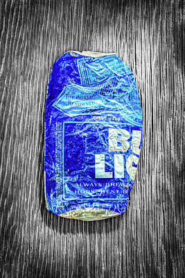 Beer Royalty-Free and Rights-Managed Images - Crushed Blue Beer Can on Plywood 78 Color on BW by YoPedro