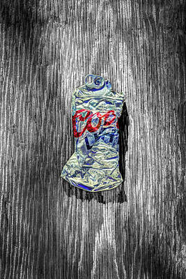 Beer Royalty-Free and Rights-Managed Images - Crushed Silver Light Beer Can on BW Plywood 80 by YoPedro