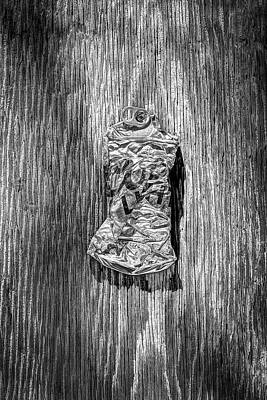 Beer Royalty-Free and Rights-Managed Images - Crushed Silver Light Beer Can on Plywood 80 in BW by YoPedro
