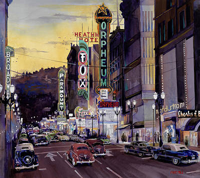 Orpheum Painting - Crusin' Broadway In The Fifties by Mike Hill