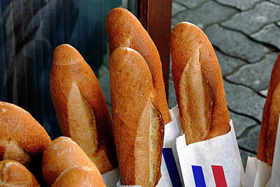 Photograph - Crusty French Bread Loaves Display At Bakery Entrance by Phil Cardamone