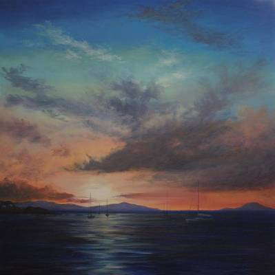 Painting - Cruz Bay Sunset By Alan Zawacki by Alan Zawacki