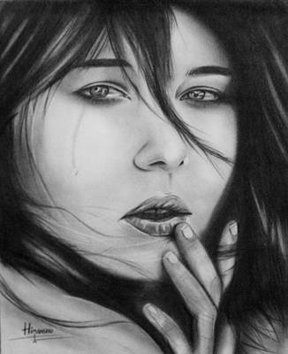Crying Drawing - cry by Himanshu Jain