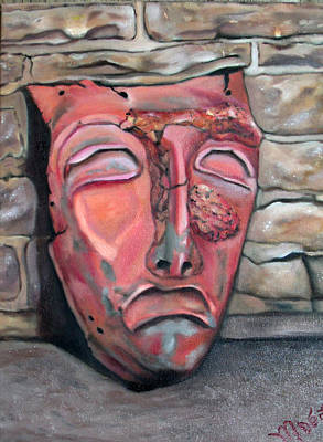 Plaster Mask Painting - Cry Later by Mary De Long