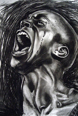 Charcoal Drawing - cry by Mimi Yoon