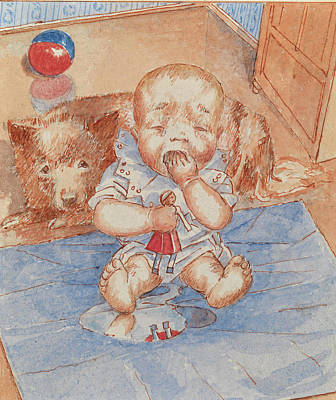 Cry Baby Painting - Crying Baby by Petrov