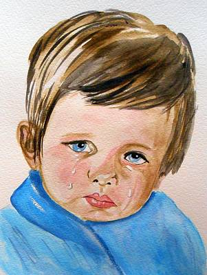 Crying Boy Painting - Crying Blue Boy by Rita Drolet