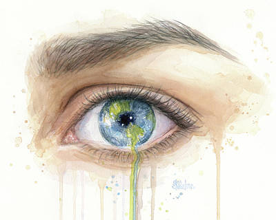 Planet System Painting - Crying Earth Eye by Olga Shvartsur