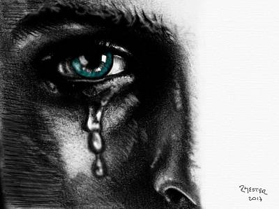 Crying Face Art Print by Ricardo Mester