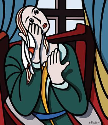 Woe Painting - Crying Girl by Aex Chubar