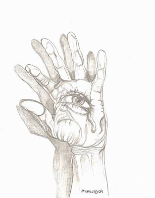 Crying Drawing - Crying Hand by Americo Salazar