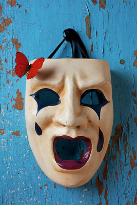 Crying Mask And Red Butterfly Art Print by Garry Gay