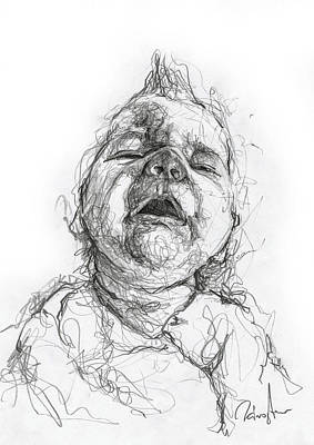 Portrait Of A Baby Drawing - Crying by Michael Tsinoglou