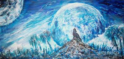 Painting - Crying Wolf by Mary Sedici